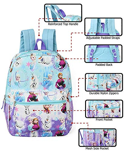 Disney Girls' Frozen All Over Print Backpack, Blue, One Size