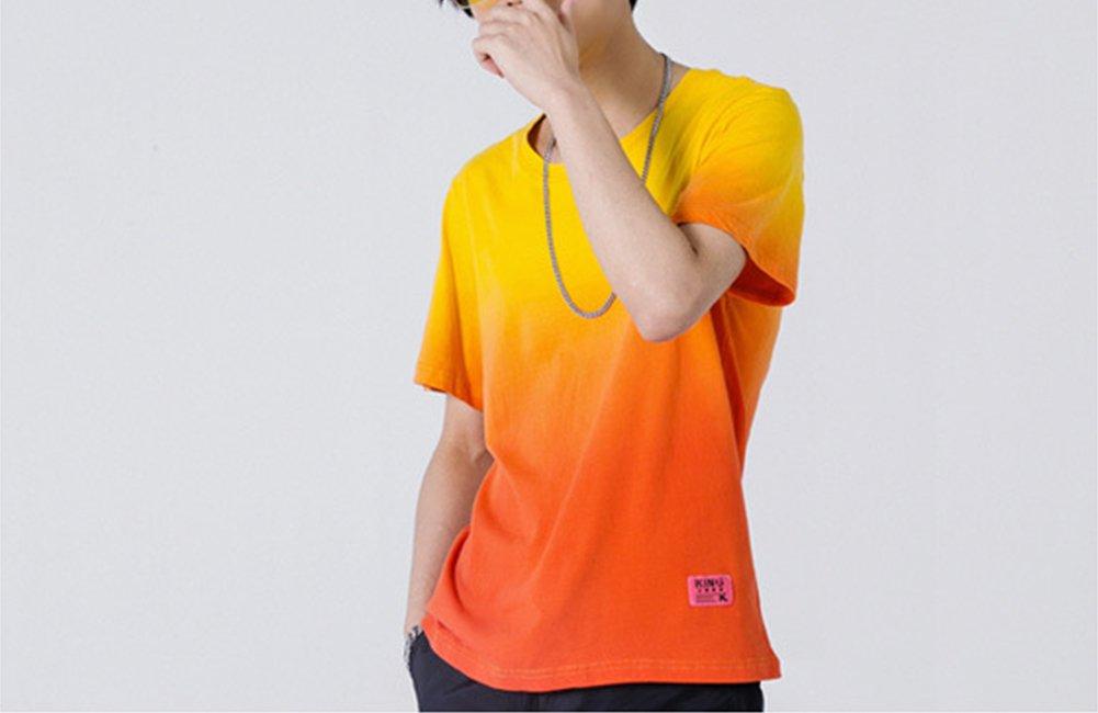 Sport T-Shirt Männer Gradient Baumwolle Kurzarm Breathable Sweat Fitness Reiten Wandern T-Shirt,1,XXL