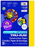 Pacon Tru-Ray Construction Paper, 9-Inches by 12-Inches, 50-Count, Yellow (103004)