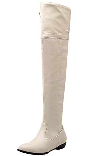 6ab18b085 BIGTREE Thigh High Boots Women Comfortable Fall Winter Buckle Flat Over The Knee  Boots Beige 4