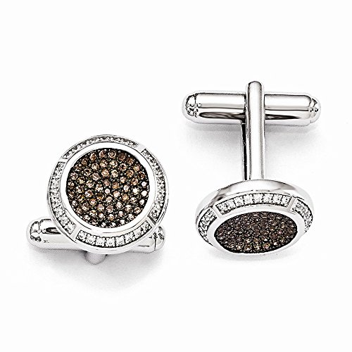 Sterling Silver Pave Brown Rhodium-plated and Cubic Zirconia Brilliant Embers Cuff ()