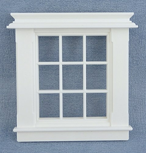 Melody Jane Dollhouse Miniature White Plastic Georgian Window Frame 9 Pane 1:24 Scale ()