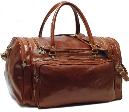 Torino 20'' Leather Travel Duffel Color: Vecchio Brown by Floto Imports