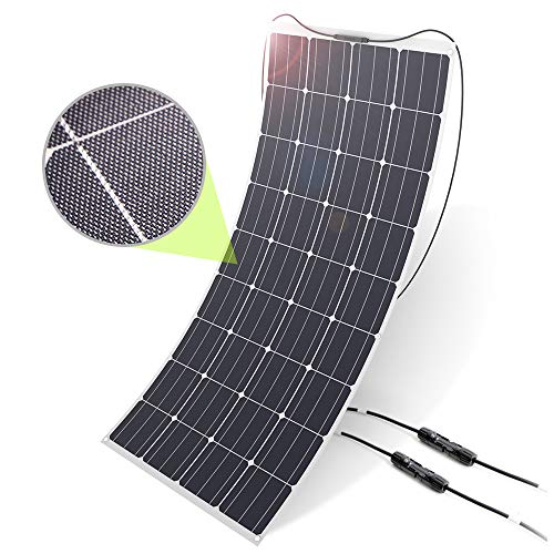 ALLPOWERS 160W 18V 12V Solar Panel Monocrystalline Lightweight Flexible Solar Charger with MC4 Connector ETFE Layer for RV Boat Cabin Tent Car (Compatibility with 18V and Below Devices)