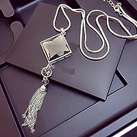 ULAKY Square Glass Pendant Long Tassel Necklace Women Fashion Jewelry