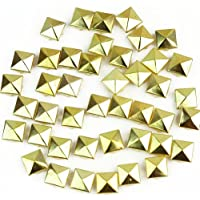 100 x Gold 12mm Pyramid Studs Spots Punk Nailheads Spikes for Bag Shoes Bracelet