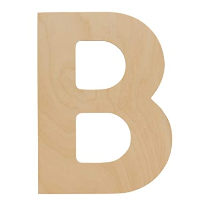Wooden Letters B Package Of 10 Unfinished 12 X 8 34 Inch Decorative Craft Monogram For Wedding Parties And Home Décor With Tool Free Adhesive