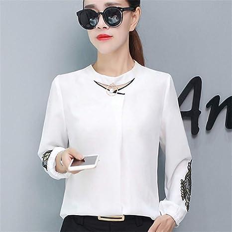 RBDSE Camisa Otoño para Mujer Tops y Blusas de Manga Larga Blusa de Gasa Tops para Mujer Encaje Patchwork Mujer Camisas Ropa Blanca: Amazon.es: Deportes y aire libre