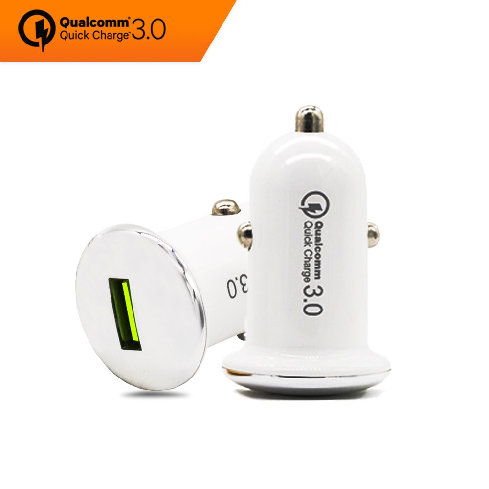Car Charger Quick Charge 3.0 Fast Single USB Smart Port, Qualcomm Power Car Charge Adapter for Apple and Android Devices, 3A/12V-24V, White - 1pcs