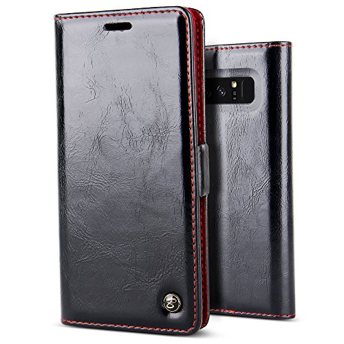 Price comparison product image Galaxy Note 8 Case,BELK Vintage Book Style Flip Folio Glossy Lether Wallet Case [Magnetic Clip][1 Card Slot][Kickstand] PC Protective Bumper Cover for Samsung Galaxy Note 8,New Black