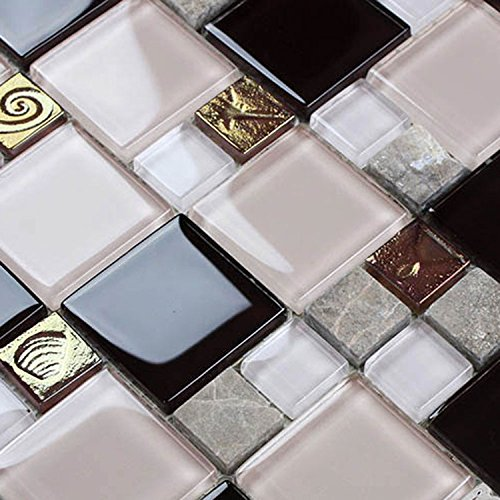 HYH 8mm Thickness Electroplated Glass Mesh-mounted Mosaic Tile Sheet for Kitchen Backsplash Bathroom Wall and Swimming Pool 12 In. X 12 In.(D0434B1) Lot of 5 Sheets by HYH (Image #2)