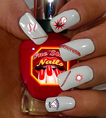 Baseball MOM nail decals. Set of 87 Clear waterslide nail decals with  Baseball MOM Art - Amazon.com : 40 Sports Baseball Nail Art Designs Decals : Beauty