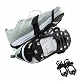 Uelfbaby Shoe Spikes Shoe Claws, Anti-slip Sole Shoes Crampons, Spikes Snow Chains for Boots (10Teeth steel black(M))