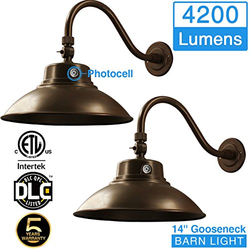 14in. Brown LED Gooseneck Barn Light 42W 4200lm Warmlight LED Fixture for Indoor/Outdoor Use - Photocell Included - Swivel Head,Energy Star Rated - ETL Listed - Sign Lighting - 3000K Warmlight 2pk