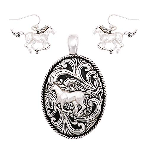 (Rosemarie Collections Beautiful Statement Magnetic Horse Medallion Pendant and Earring Set with Free Stainless Steel Chain (Horse))