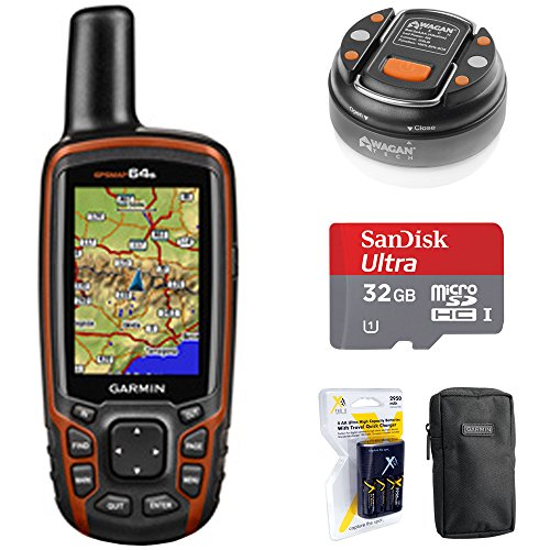 Garmin GPSMAP 64s Worldwide Handheld GPS with 1 Year Birdseye Subscription (010-01199-10) + 32GB Memory Card + LED Brite-Nite Dome Lantern Flashlight + Carrying Case + 4X AA Batteries w/Charger