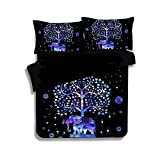 What Is a European King Size Bed KTLRR Indian Multi Color Elephant Bedding Set 3D Bohemian Mandala Duvet Cover Set Boho Bed Linen 2/3pcs Uk US CN Queen King Size for Kids (Twin 2PCS, Blue tree elephant)