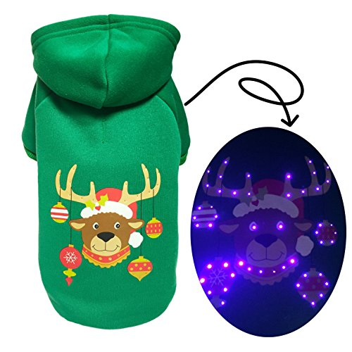 Pet Puppy LED Light up Clothes Dog Hoodie Costume Sweater for Christmas Hoodie Costume for Holiday Festival Party (Diy Mrs Claus Costume)