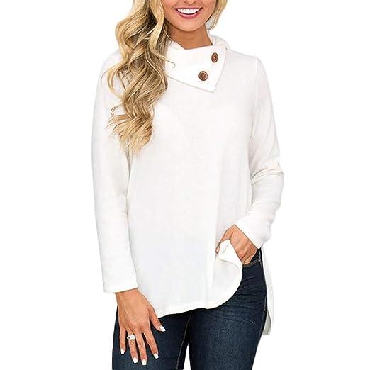 50487489a9 Dimanul Hoodies T Shirts Women T-Shirts Loose Skew Collar Botton ...