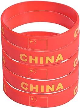 SpringPear® 5X Pulseras de Silicona con Bandera China Copa Mundial de la Fútbol FIFA Apoyos de Ventilador (5 Piezas): Amazon.es: Juguetes y juegos