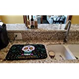 Caroline's Treasures VHA3035DDM Happy Halloween Day of The Dead Dish-Drying-mats, 14 x 21, Multicolor