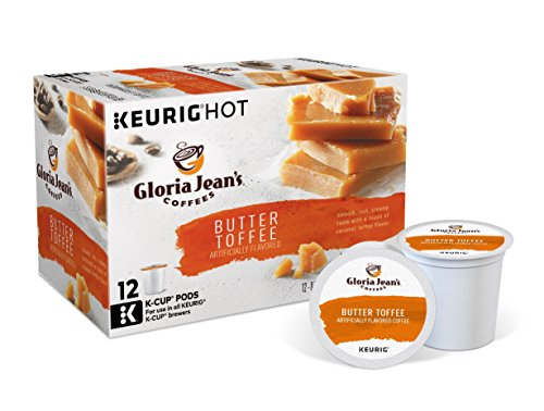 Celebration Caramels (Gloria Jean's Butter Toffee Keurig Single-Serve K-Cup Pods, Medium Roast Coffee, 6.15 oz, 72 Count (6 Boxes of 12 Pods) ( Packaging May Vary ))