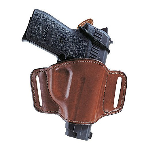 Bianchi 105 Minimalist, Suede Lined, Premium Leather Holster w/Elastic Strap & Leather Tab, Tan, Right Hand, SZ14, Colt 1911 Government, Commander, Officers' (or similar), Glock 42, Sig Sauer P365, Springfield 1911 A-1 (Holster Lined Leather Suede)