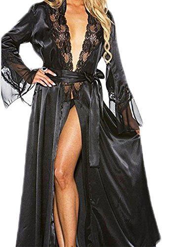 Ailainniyishi Women 2PCS Sexy Long Silk Lace Trim Satin Sleepwear Dressing Gown Babydoll Bath Robe Lingerie with Belt (Black, XXL)