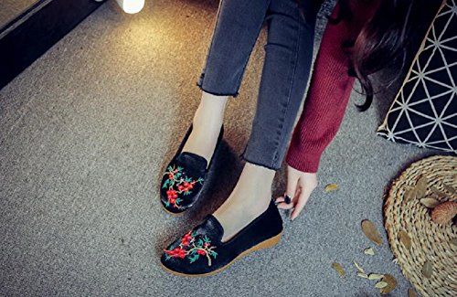 Embroidery Lady Flats Slip Walking Women Chinese Style Lazutom Black On Loafer Shoes w5qvFInf
