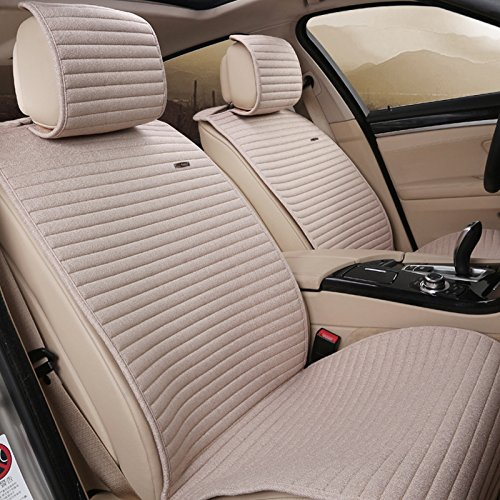 INCH EMPIRE-1509 Linen Car Seat Cushions Cloth 10 pcs Full Set - Flax Anti-skidding Universal Fit Seat Covers for Audi Jeep Ford Mercedes-Benz and 98% Other Types of Cars