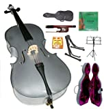 Merano 4/4 Full Size Silver Cello with Hard Case, Bag and Bow+2 Sets of String+Pitch Pipe+Cello Stand+Black Music Stand