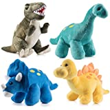 Prextex High Qulity Plush Dinosaurs 4 Pack 10'' Long Great Gift For Kids Stuffed Animal Assortment Great Christmas Gift Set for Kids
