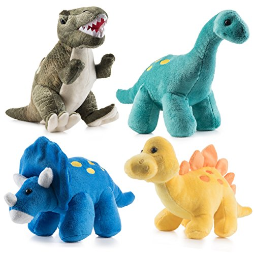 Prextex High Qulity Plush Dinosaurs 4 Pack 10'' Long Great Gift For Kids Stuffed Animal Assortment Great Christmas Gift Set for (Dinosaur Stuffed Plush)