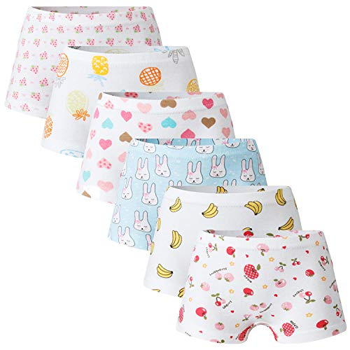 (Growth Pal 6 Pack Soft 100% Cotton Girls's Panties Boyshort Briefs Little Girls' Underwear Toddler Undies 03-XL)