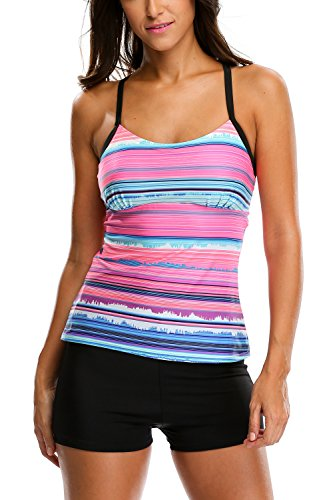Charmleaks Women's Solid Geo Printed Tankini Two Piece Tankini Top Swimwear Set - Small - Stripe(Fulfilled by Amazon) -