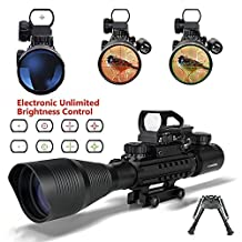 AR15 Tactical Rifle Scope 4-16x50EG Dual Illuminated Optics Scopes and Electronic Holographic R&G Dot Sight With Free 22mm/11mm Rail Mount for Hunting