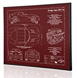 Dodge Viper SRT10 Blueprint Artwork-Laser Marked & Personalized-The Perfect Dodge Gifts