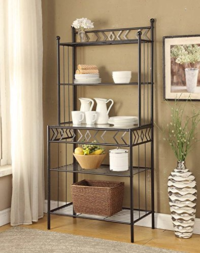 5 Tier Black Metal Glass Shelves Kitchen Bakers Rack Wine Bottle
