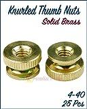 Paradise Harbor 25 Pcs 4-40 Knurled Thumb Nuts Solid Brass Knurled Thumb Nuts