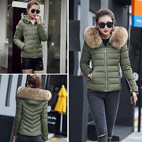 Estola Acolchada con Chaqueta Abrigo BAINASIQI el 2017 Parka Mujer para Verde Capucha Elegante Court invierno xfZUSw