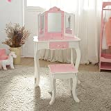 Teamson Kids Gisele Vanity Table and Stool Set, Pink / Star, T: 23.50x11.50x38.50 Small: 10.75x10.75x14.50