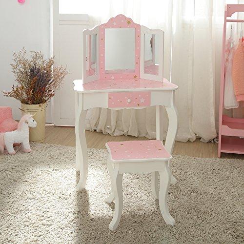 Teamson Kids Gisele Vanity Table & Stool Set, Pink/ White/ Gold