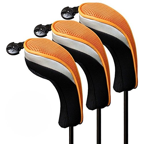 h103ゴルフハイブリッドヘッドカバー3点/セット B075GSYXJK ゴールド/ブラック