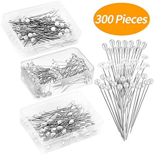 Senkary 300 Pieces Corsages Pins Flower Pins Floral Pins Diamond Crystal Pins Pearl Pins Straight Head Pins Wedding Bouquet Pins, 3 Styles