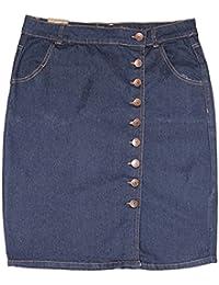 "Women Front Button 24"" Basic Five-Pocket Denim Skirt with Split"