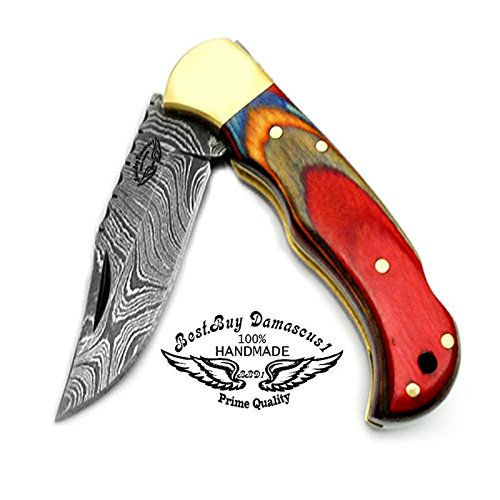 Multi-Color-Wood-65-Handmade-Damascus-Steel-Brass-Bloster-plus-Sharpening-Rod-Folding-Pocket-Knife-Back-Lock-100-Prime-Quality