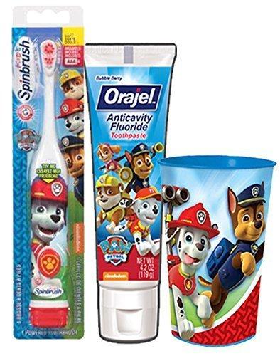 "Paw Patrol ""Marshall Inspired"" 3pc. Bright Smile Oral Hygiene Set! (1) Paw Patrol Turbo Power Spin Toothbrush (1) PAW Patrol Anticavity Fluoride Toothpaste! Plus Bonus Paw Patrol Mouthwash Rinse Cup!"