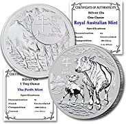 AU 2021 Set of (2) 1 oz Silver Lunar Ox Coins (The Perth Mint & Royal Australian Mint) Brilliant Uncircula
