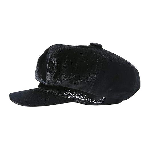 537197c02 Women Baseball Cap Velvet Newsboy Hat Plain Cabbie Visor Beret ...