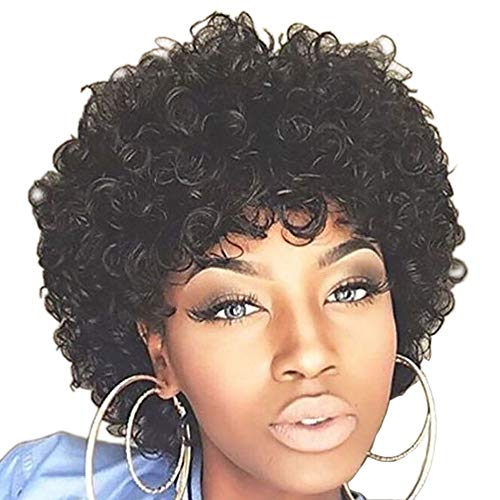 Beauty : Naseily Short Black Afro Curly Synthetic Wigs For Black Women Natural Synthetic Wig Black Wig